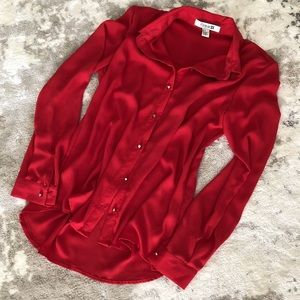 Forever 21 Red Blouse Metal Stud Buttons Small